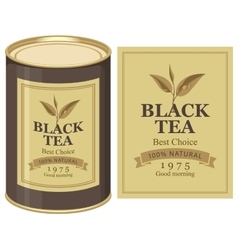 Tin can with label of black tea vector