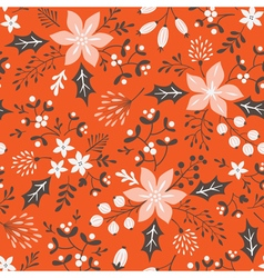 Red floral Christmas pattern vector image
