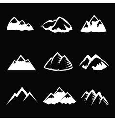 Mountain white icons set Tourism simbols vector image