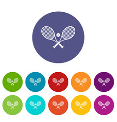 Crossed tennis rackets and ball set icons vector