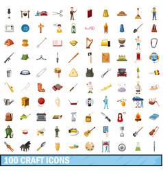 100 craft icons set cartoon style vector image