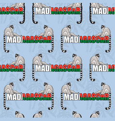 Seamless pattern of two lemurs and word madagascar vector