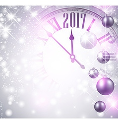 2017 New Year background with clock vector image