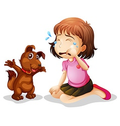 A little girl crying vector