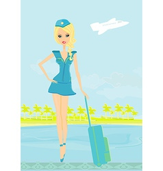 Beautiful stewardess with baggage on airport vector