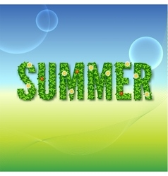 Word summer with green leaves vector