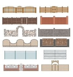 Different designs of fences and gates isolated on vector