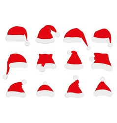 Santa claus red hat set on white vector