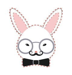 Rabbit head with glasses2 vector