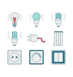 Line style icons of electricity tools vector