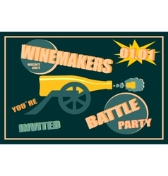 Design for wine event winemakers battle party vector