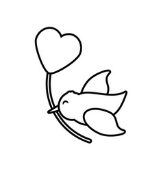 Bird with heart balloon decoration outline vector