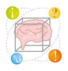 Brain thinking in differents questions vector