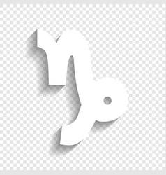 Capricorn sign white icon vector