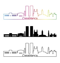 Casablanca skyline linear style with rainbow vector