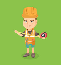 caucasian boy in hard hat using a measuring tape vector image