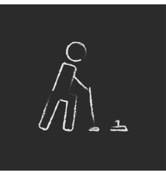 Curling icon drawn in chalk vector