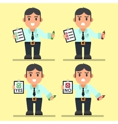 Cute Cartoon Office Workers with Checklist vector image vector image
