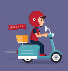 Delivery with scooter vector