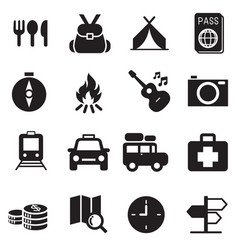 Discovery traveling camping icons vector