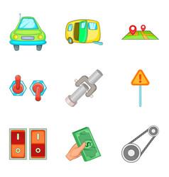 Engine check icons set cartoon style vector