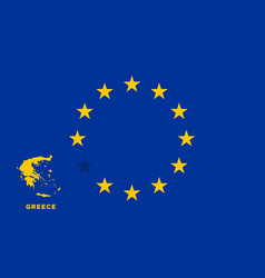 eu flag with greece country european union vector image