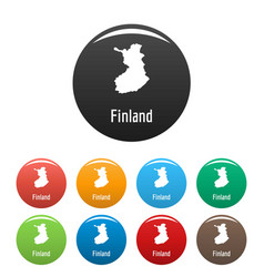 Finland map in black set simple vector