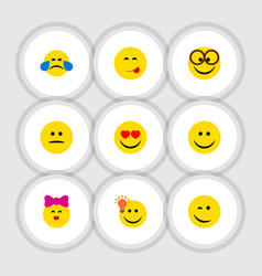 Flat icon emoji set of pleasant winking caress vector