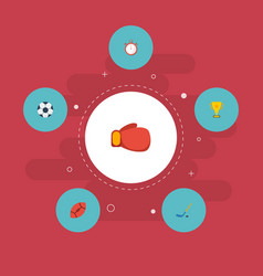 Flat icons ball trophy puck and other vector