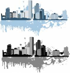 grunge cityscapes vector image vector image