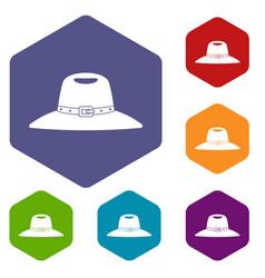 Hat icons set hexagon vector