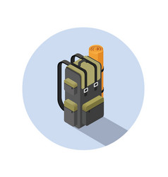 isometric of camping backpack vector image