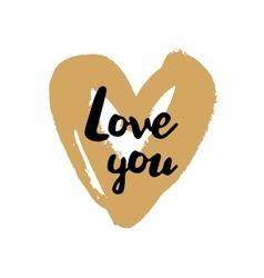 Love you Valentine on golden heart vector image