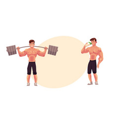man bodybuilder working out with barbell and vector image vector image
