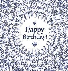 Mandala happy birthday card vector