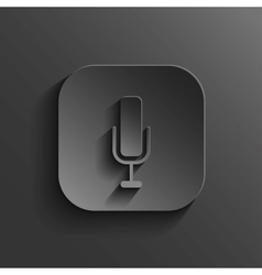Microphone icon - black app button vector image vector image