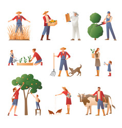 People in farming flat icons set vector