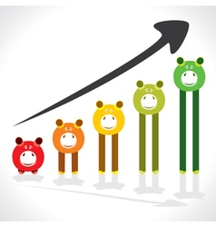 saving money graph shown by piggy stock vector image