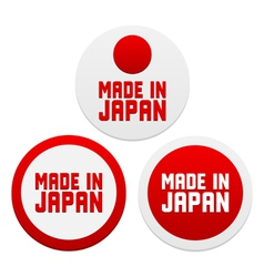 Stickers with Made in Japan vector image