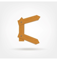 Wooden Boards Letter C vector image vector image