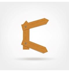 Wooden Boards Letter C vector image