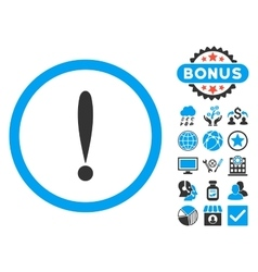 Exclamation sign flat icon with bonus vector