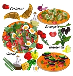 Traditional dishes of french cuisine nicoise vector