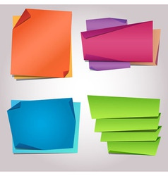 Folded paper blank colorful sticker templates vector image