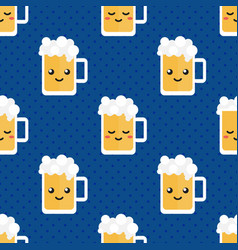 cute glass of beer character seamless pattern vector image