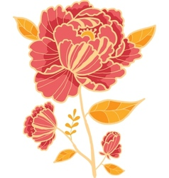 Golden and red flower design element vector