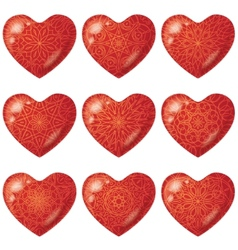 Valentine red hearts with pattern set vector image