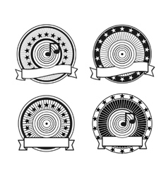 Black and white retro musical record stamp vector