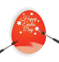 Red egg and brush for Easter day greeting card vector image
