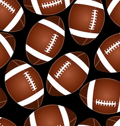 Football on black seamless pattern vector